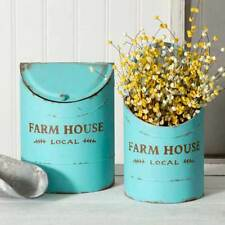Country new pair of FARMHOUSE distressed Teal tin storage bins