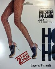 PP House of Holland PRETTY POLLY Fish Net Layered Tights Two Pair Pack One Size
