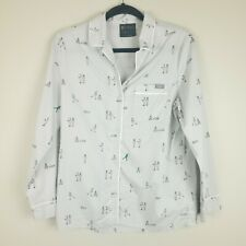 Figs Women's Pajama Top Nurse Doctor Print Button Up Size Small Gray Grey