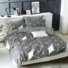 2tlg.Bettwäsche Bettbezug Baumwollsatin 135/200cm stahlgrau - Netzmotiv -Modern