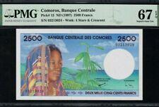 1997 COMOROS 2500 Francs PMG67 EPQ SUPERB GEM UNC [P-13]