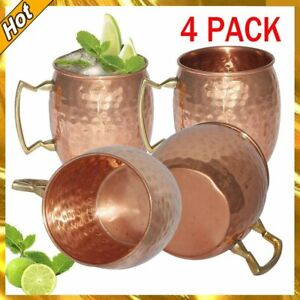 2/4Pcs 530ML Pure Copper Moscow Mule Mug Cup Coffee Beer Drinking Cocktail Set