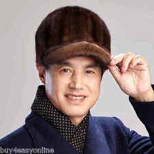 Real Winter Men Mink Fur Hat Brown Fur Cap Headgear Beanie Beret Luxury fur Cap