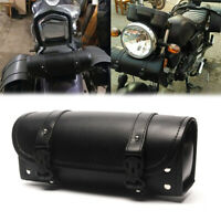 Black Motorcycle Front Fork Tool Bag SaddleBag for Harley Chopper Bobber Cruiser