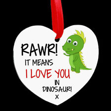 Heart Shaped Metal Hanging Plaque Valentines Couple Funny Rawr Dinosaur Love You
