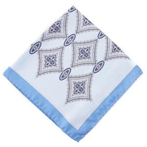 New $150 E.MARINELLA NAPOLI Sky Blue Medallion Print Silk Pocket Square