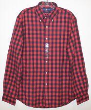 Polo Ralph Lauren Mens Red Black Checks Flannel Button-Front Shirt NWT Size L