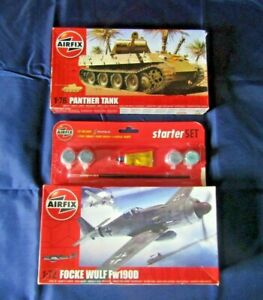 Airfix model kits 1:76 Panther Tank & 1:72 Focke Wulf Fw190D Plane Boxed