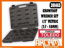 "TOLEDO 301465 - CROWFOOT WRENCH SET 1/2"" - METRIC (27 - 50MM) 14 PC STRAIGHT JAW"