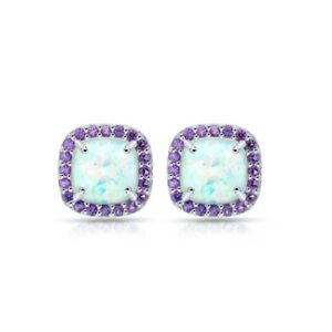 Cushion Cut Halo Simulated Opal & Amethyst Stud Earrings in Sterlng Silver