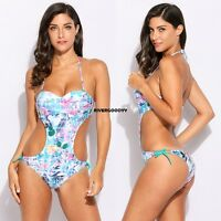 Sexy Women Floral Halter Side Cut Out Tie Monokini One Piece Swimsuit VGY01