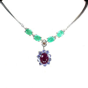Oval Ruby Emerald Sapphire Tanzanite 925 Sterling Silver Necklace 18inches