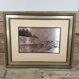 """""""COAST OF MAINE"""" ETCHING ON STERLING SILVER BY JAMIE WYETH  1977 (Franklin Mint)"""