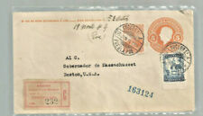 1926 Mexico certified cover Puebla to Boston Ma w/ labels back stamps