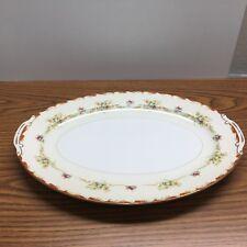 """Vintage Occupied Japan """"Mira China"""" Large  Serving Platter  Floral Gold Trim"""