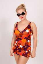 60s 70s vintage honeycomb geometric pattern swimsuit by Silhouette