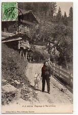 SUISSE SWITZERLAND Canton du VALAIS VAL D'ILLIEZ foulards rouges paysanne bique