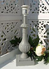 Lampenfuß Holz MORA 37cm E27 Grau gewischt Landhaus Shabby Chic Vintage