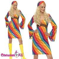 Ladies 60s 70s Retro Hippy Costume womens 1960s 1970s Go Go Hippie Fancy Dress