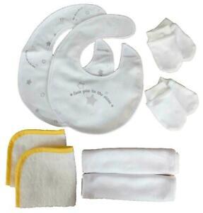 Newborn Baby Essentials Scratch Mitts Flannels Burp Cloths and Bibs Great Gift