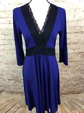 NEW Liz Lange Completely Me Blue Black Lace 3/4 Sleeve Dress C3789