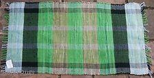 FAIR TRADE INDIAN RAG RUG  Hand Loomed SHABBY CHIC cotton GREEN 70cm x 125cm