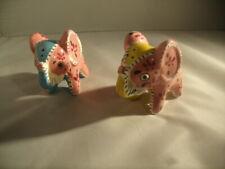 Pair of Pink Elephant Salt & Pepper Shakers Ceramic Cork Stopper Japan