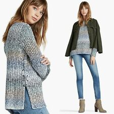 Lucky Brand Womens Sweater Small Pullover Lace Up Ombré Gray