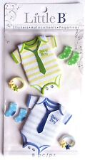 Baby Boy One Piece with Tie ADORABLE matching socks Rattle Little B 3D Stickers