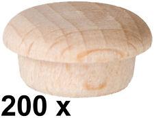 200 x Abdeckkappe Kappe - Buchenholz unlackiert Stift 14,5/15,3 mm Kopf 19,3 mm