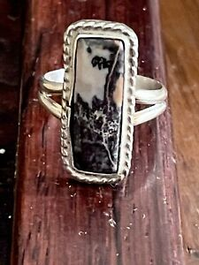 """Vintage Navajo Sterling Silver 7/8"""" Braided Petrified Wood Ring Size 8, 5.8g"""