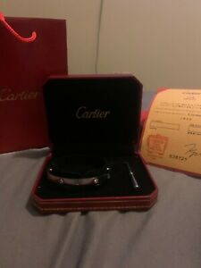 Cartier 4 Diamond 18K White Gold Love Bracelet Size 17