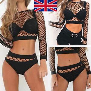 UK 6-22 Women Top Blouse Lace Net Bodysuit Lingerie Fishnet Jumpsuit Plus+