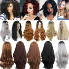 Women Long Hair Full Wig Natural Curly Wavy Ombre Synthetic Cosplay Party Wigs