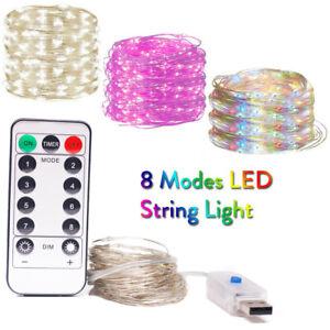 Waterproof 8 Modes LED String 1m - 10m Fairy Light Xmas Party Decor + Remote Rh