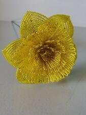 Handmade French beaded Flowers Large Peony flower yellow color