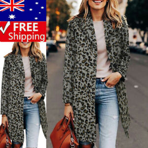 Ladies Trench Coats Leopard Print Turn-Down Collar Long Sleeve Jackets Winter
