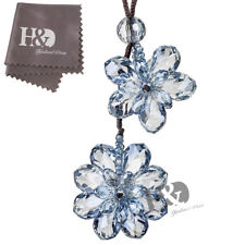 Blue Double Flower Car Hanging Decor Pendant Ornament Decor Crystal Lucky Gift