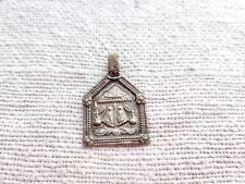 Antique Jewellery Silver Amulet Pendant Goddess Of Wealth Laxmi Feet Hand Stamp
