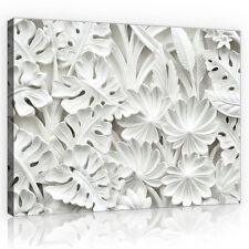CANVAS Wandbild Leinwandbild Bild Blätter Weiss Abstraktion 3D Blume 3FX10052O6