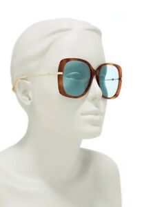 NEW Gucci Oversize 57mm Square Tortoise Metal Arms & Green Lens Sunglasses $465