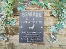 Divertente attenzione al GREAT Dane Cane Slate porta, cancello, Segno Di Placca