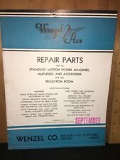 Wenzel Ace Repair Parts Catalog For Motion Picture Machines.