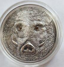 MONGOLIA 2018 1 Oz Silver WILD BOAR SUS SCROFA Antique Finish Coin.