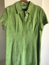 Terry Lewis Classic Luxuries Dress Size  14P Leather Suede Green Knee Length