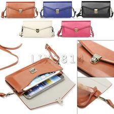 Universal Handbag Leather Pocket Purse Shoulder Bag Pouch Cell Phone Cover Case