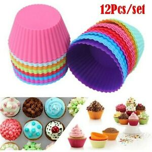 12Pcs Muffin Cases Silicone Cupcake Mould Stock UK Baking Round Reusable 7cm