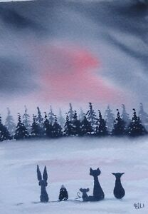 Original watercolour painting. Animal friends head to the woods.