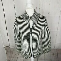 Talbots Cardigan Wool Angora Striped Sweater Women's Size Medium Gray White