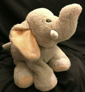 """Ganz Elephant Velvety Grey Plush Stuffed Soft Zoo Animal Baby Toy 10"""" L 9"""""""